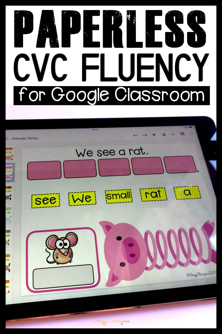 Google Classroom Activities for Kindergarten | CVC Words Games: Need to practice CVC words in sentences? I've got you covered! Try these paperless activities for Google Classroom. Use during your literacy block, daily 5, guided reading, spelling, RTI, and literacy centers.