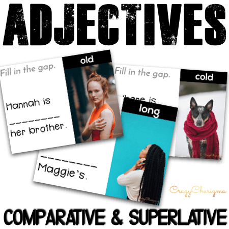Need engaging activities to practice comparative and superlative adjectives? Use these grammar task cards with images and let kids practice degrees of comparison in a meaningful way!