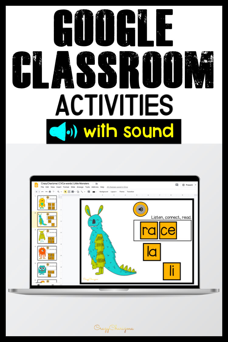 Sound in Google Classroom - at last! Practice CVCe words in a fun way. Kids will listen to words and build them right away. Perfect for desktop and laptops!