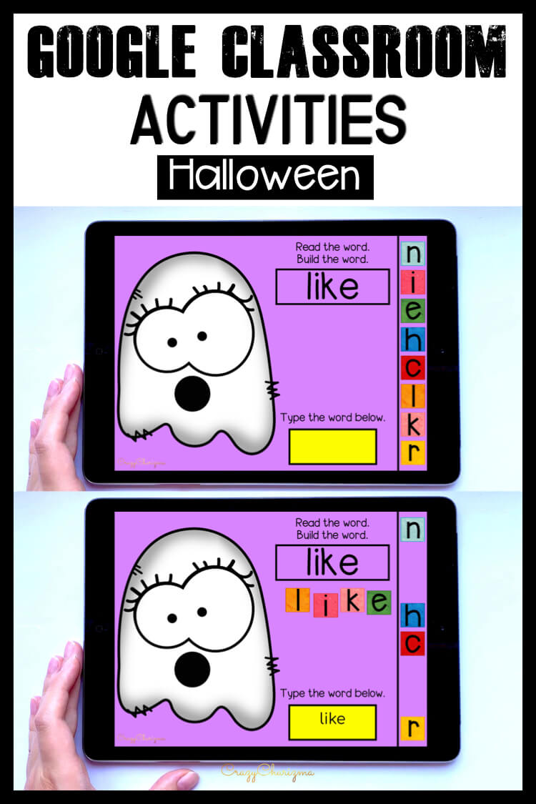 Looking for fun Halloween games for kids to use in Google Classroom? Grab this sight word practice for kindergarten and first grade!