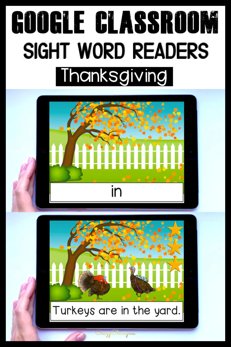 Looking for engaging sight word readers for kindergarten? Have fun with Thanksgiving activities for kids. Use as paperless activities for Google Classroom or print and read!