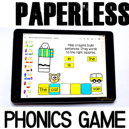 Google Classroom Activities for Kindergarten. Phonics sentence fluency. Would love to try Google Classroom in kindergarten? Practice short A, E, I, O, U words while building and reading sentences. Have fun with interactivity! #CrazyCharizma #GoogleClassroom #GoogleClassroomKindergarten #HandsOnActivitiesForKids #PaperlessClassroomElementary #PhonicsActivities