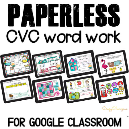 Google Classroom Activities for Kindergarten, CVC word work.x Looking for NO PREP paperless activities to practice CVC words? I've got you covered! Practice word work, words sentences, and read fluency passages. Google Classroom for kindergarten can be fun! #CrazyCharizma #GoogleClassroom #GoogleClassroomKindergarten #HandsOnActivitiesForKids #PaperlessClassroomElementary #PhonicsActivities