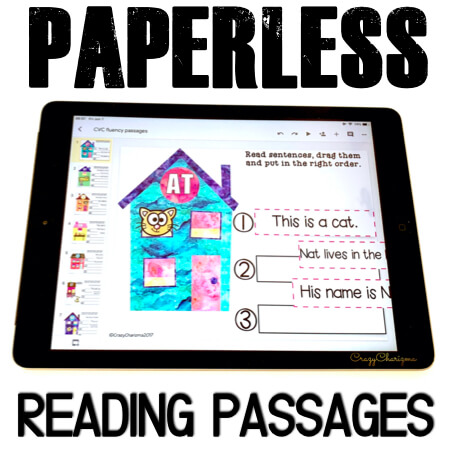 Google Classroom Activities for Kindergarten, fluency passages. Need to practice CVC words in reading fluency passages? Grab these easy to use texts (drag and drop feature). The images will help kids put sentences in the right order. #CrazyCharizma #GoogleClassroom #GoogleClassroomKindergarten #HandsOnActivitiesForKids #PaperlessClassroomElementary #PhonicsGames