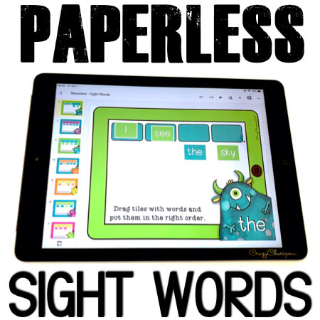 Get these paperless resources and practice sight words. Put words in the right order to build a sentence. Improve sentence fluency with Google Classroom activities! #CrazyCharizma #GoogleClassroom #GoogleClassroomKindergarten #HandsOnActivitiesForKids #PaperlessClassroomElementary #SightWordActivities
