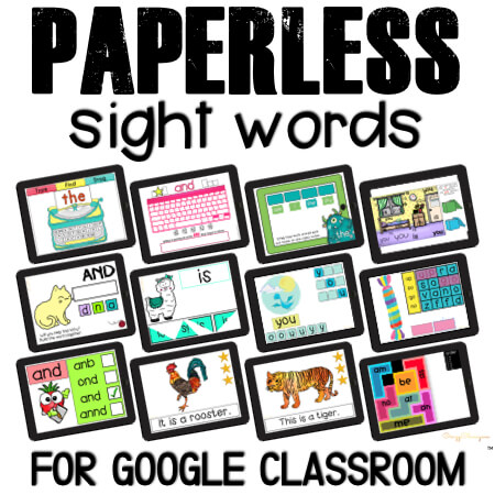 Need even more sight words games? Searching for activities kids can use independently, learn and have fun at the same time? Google Classroom is the answer! Engage kids with paperless games.