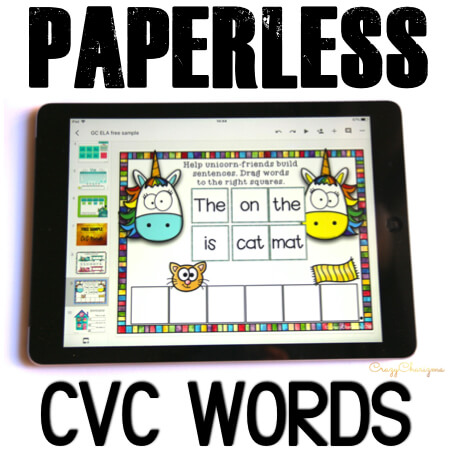 Google Classroom Activities for Kindergarten CVC sentence fluency. Want to engage kids with CVC word sentences? Try activities for Google Classroom in kindergarten. With images as visual help, students will build sentences and read them aloud in an engaging way! #CrazyCharizma #GoogleClassroom #GoogleClassroomKindergarten #HandsOnActivitiesForKids #PaperlessClassroomElementary #PhonicsActivities