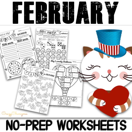 Need quick noprep worksheets to use in February? February topics like penguins, polar bears, arctic animals, Valentine's Day, Groundhog Day, President's Day, flowers, winter activities will for sure make learning fun and engaging! 25 pages of pages to use as literacy centers!