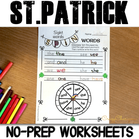 Need no prep worksheets to use on St. Patrick's Day? Discover 33 fun and engaging pages of activities for your kids! Practice alphabet, sight words, synonyms, play with St.Patrick Day vocabulary and have fun with quick writing prompts.