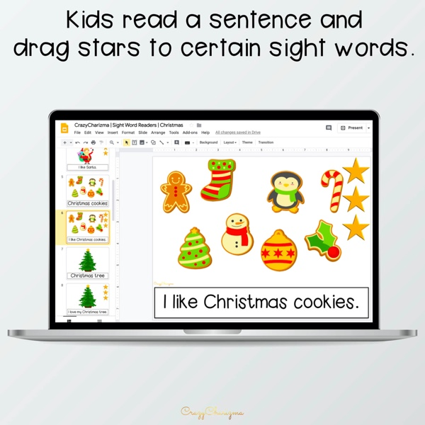 Looking for an engaging emergent reader for kindergarten? Want to introduce Christmas words to kids? Read with sight word readers! Use this set as a paperless activity for Google Classroom or print and read!