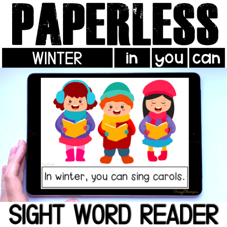 Looking for an engaging emergent reader for kindergarten? Want to introduce winter words to kids? Read with sight word readers! Use this set as a paperless activity for Google Classroom or print and read!