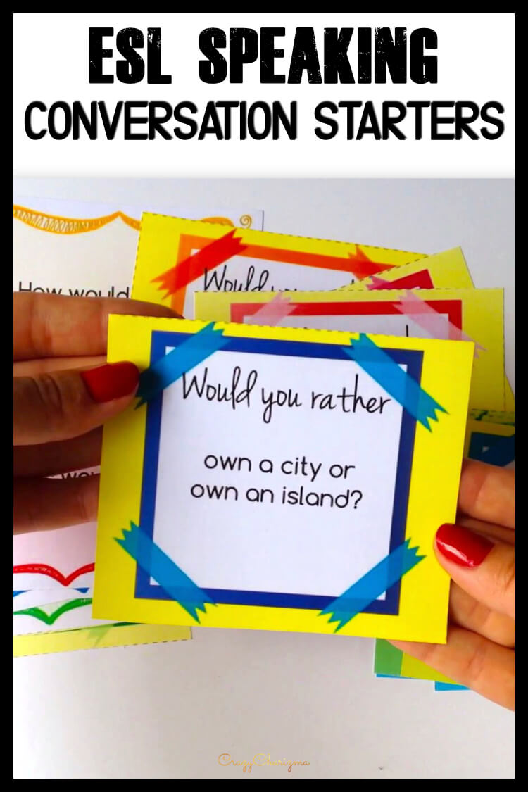 It's difficult to get ESL students speak. I'll help you with lots of conversation cards. Practice both grammar and speaking because cards cover Would you rather, Have you ever, Conditionals questions and much more. Build students' conversational confidence in an exciting way!