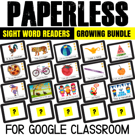 Love using sight word readers with kids? How about both paperless and printables sight word books? They are perfect for Google Classroom: use on iPads, Chrombooks, tablets and laptops. Or just print and use!