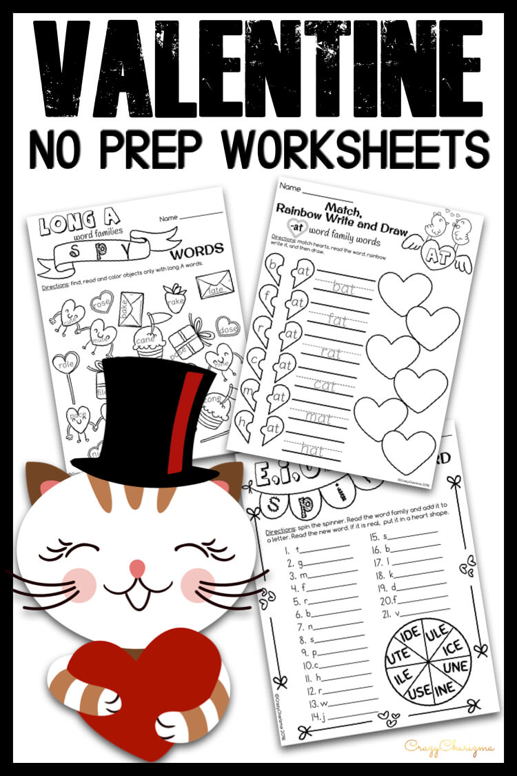 Need a quick and easy way to use phonics practice for Valentine's Day? Grab these NO PREP worksheets, just print and go! Use these activities to practice reading and spelling of simple CVC and CVCe words (short a,e,i,o,u and long a,i,o,u)!