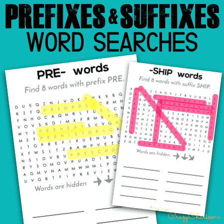 Prefixes and suffixes word searches are a perfect way to keep your students engaged. Print and use them with early finishers. Or when you need to work with small groups and have some students who can or need to practice more. Quick and sweet!