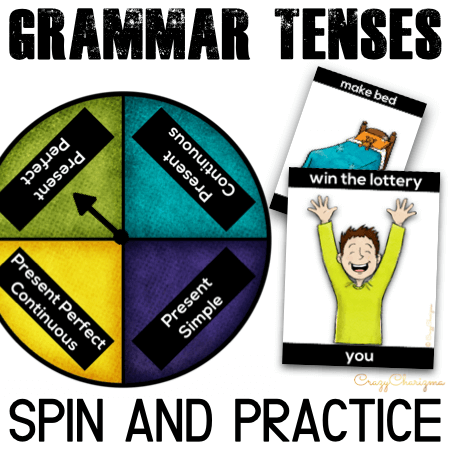 Spin and practice English verb tenses in a meaningful and engaging way. Take advantage of bright cards in color or save ink and print black and white cards. Practice all English tenses, as well as time expressions and articles!