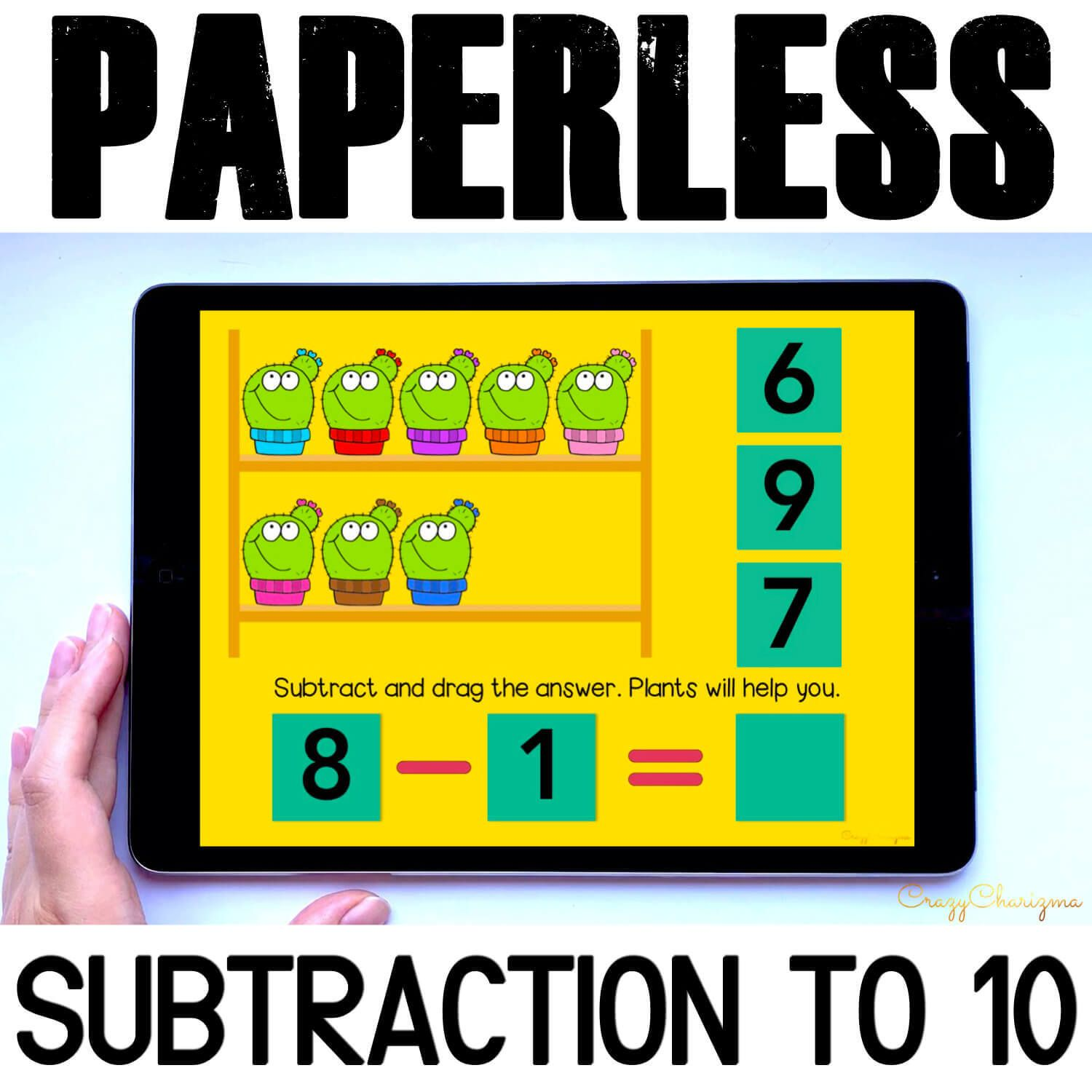 Need engaging Subtraction to 10 Google Slides practice? Have fun with this math center. Kids will add numbers and drag moveable pieces with the correct answer. Pictures of plants will help! This paperless set is perfect for Google Classroom and Google Slides.