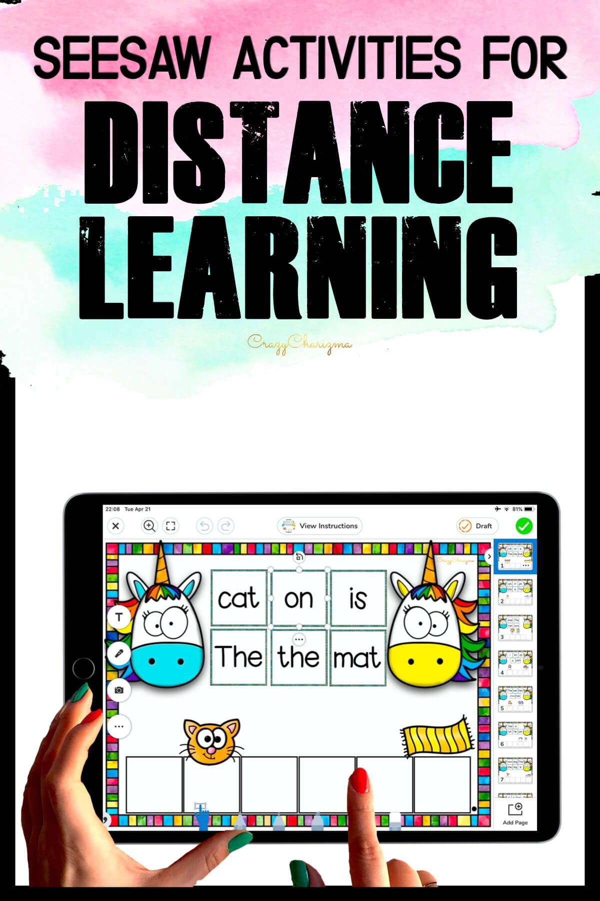 Need fun activities to use in Seesaw? Looking for engaging practice for distance learning? Try paperless CVC sentences with unicorns. Perfect for prek, kindergarten, first and second grade!