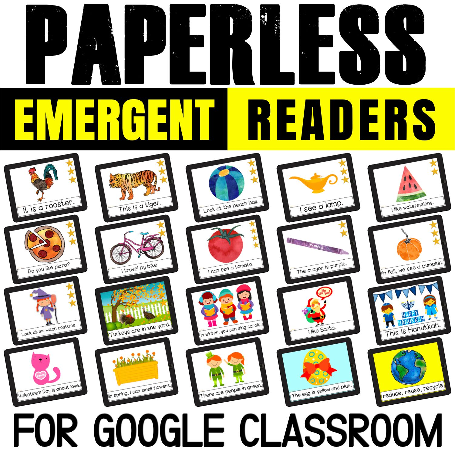 Love using emergent readers with kids? How about both paperless and printables sight word books? They are perfect for Google Classroom: use on iPads, Chromebooks, tablets and laptops. Or just print and use!