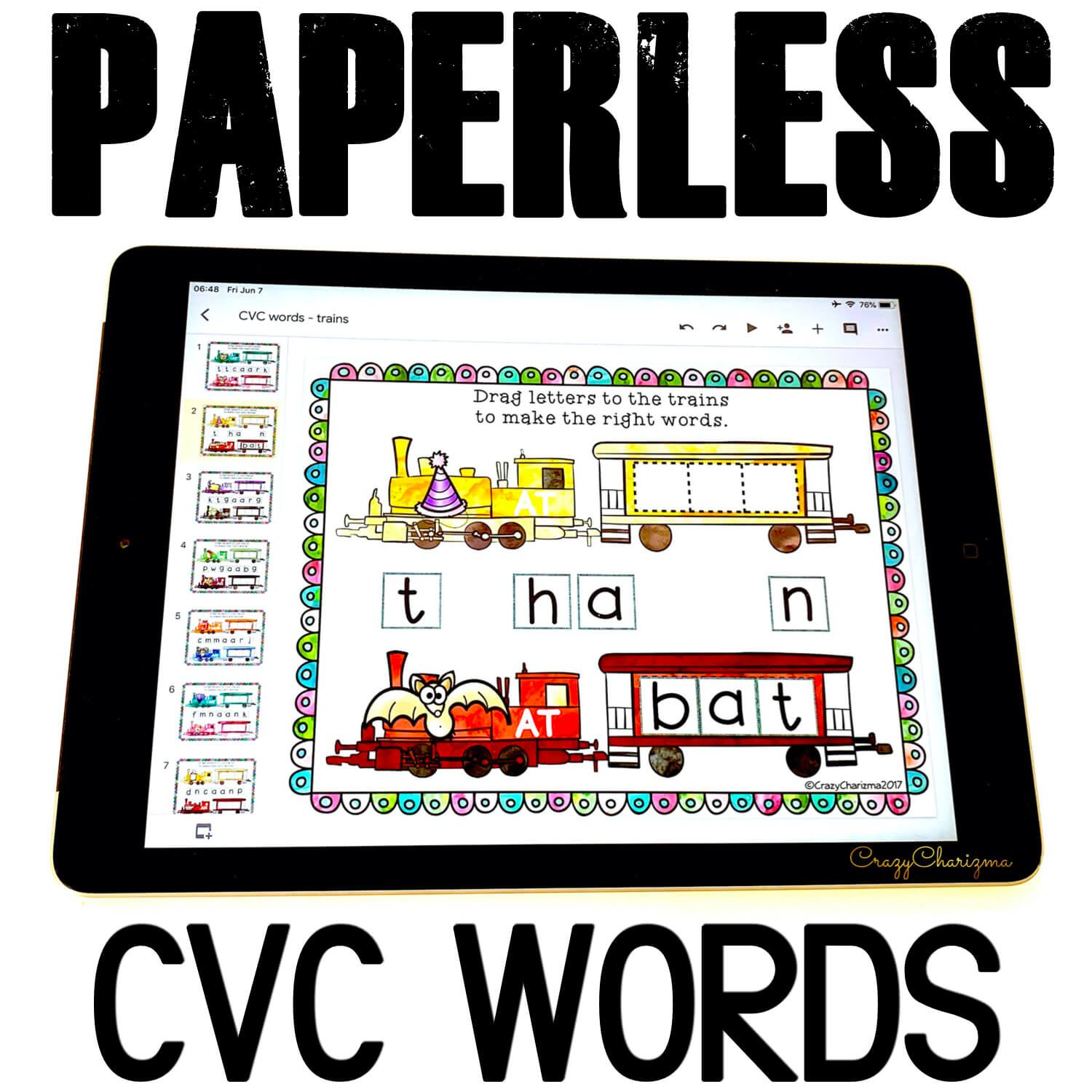 Grab this digital word work and get kids engaged with fun CVC words practice! Use during guided reading groups, literacy centers, 1:1 work, and for homework.