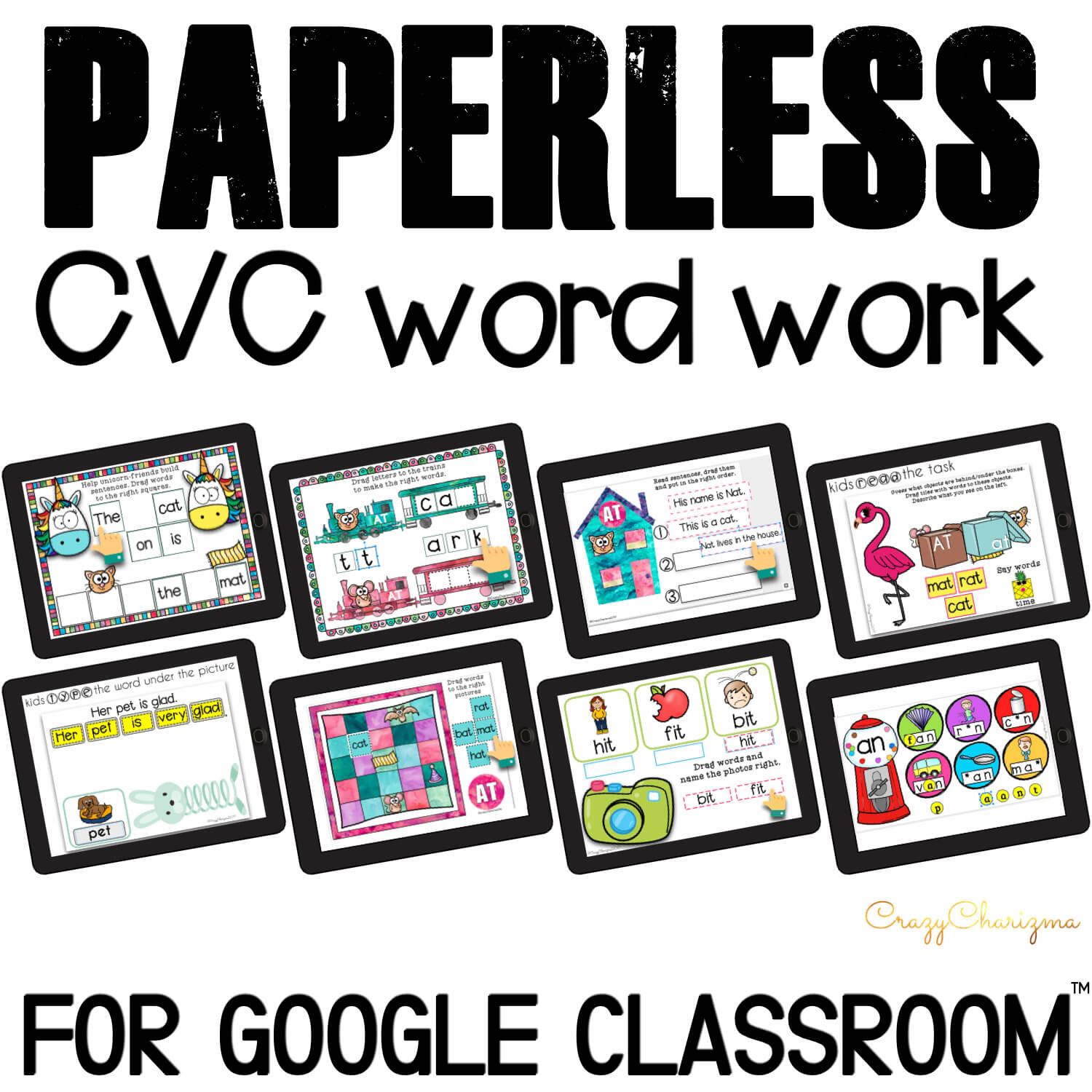 Looking for NO PREP paperless activities to practice CVC words? I've got you covered! Practice word work, words sentences, and read fluency passages. Google Classroom for kindergarten can be fun!
