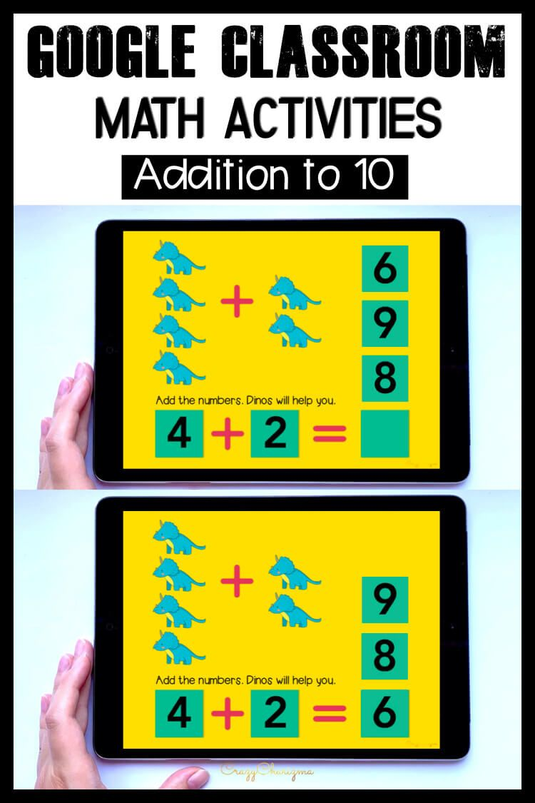 Need engaging Addition to 10 activities for distance learning? Have fun with this math center. Kids will add numbers and drag moveable pieces with the correct answer. Pictures of dinos will help! This paperless set is perfect for Google Classroom and Google Slides.
