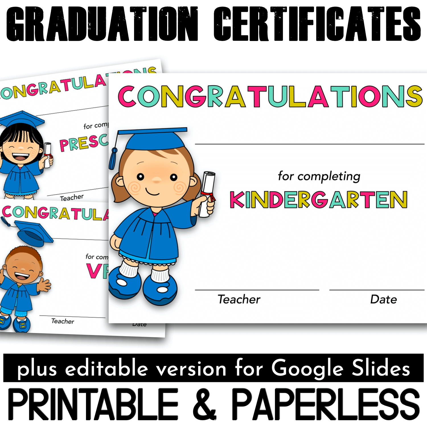 Are you looking for bright graduation certificates for your students? Do they need to be editable? Something perfect for the classroom and distance learning? You've found them!