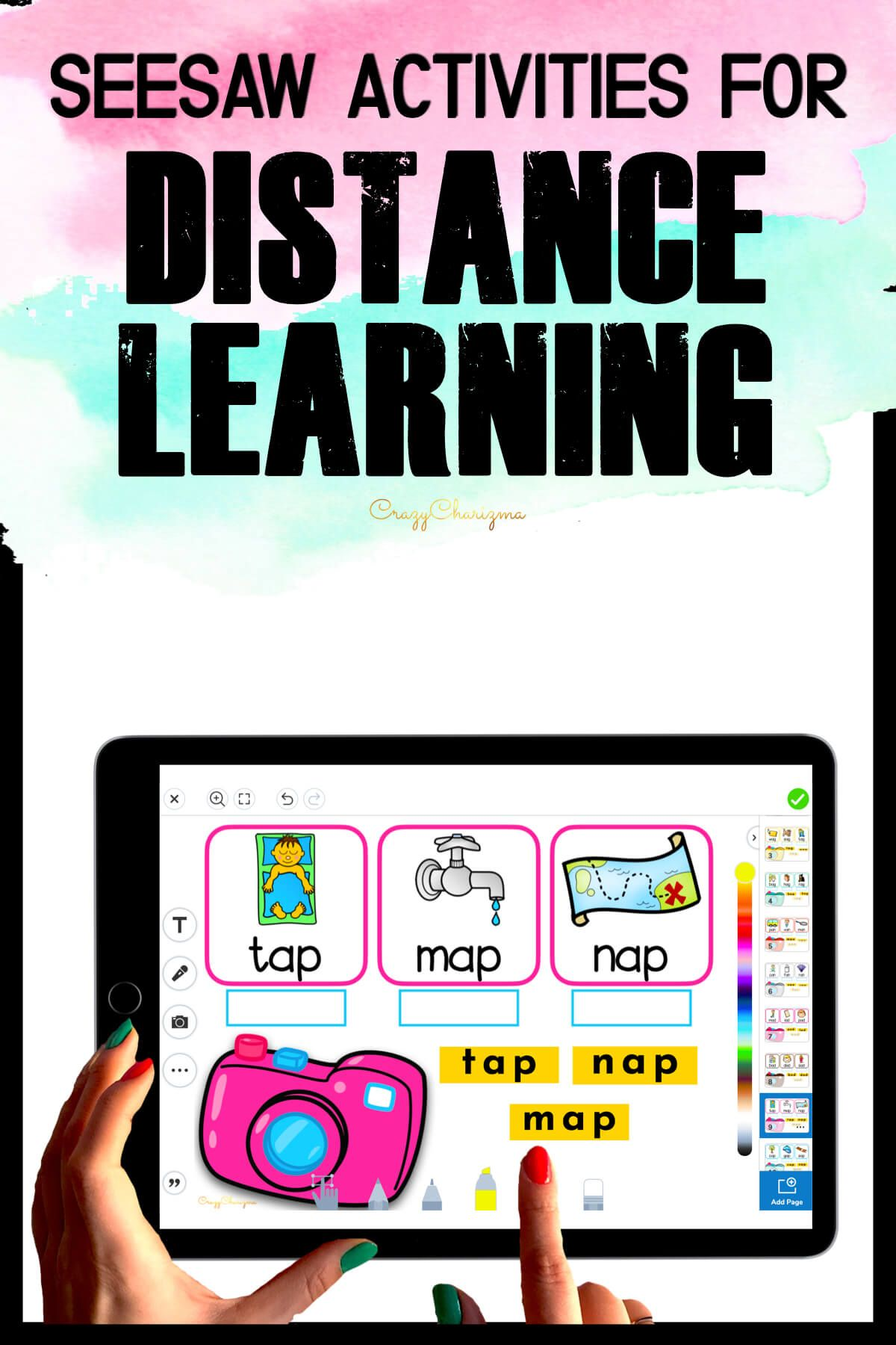Need fun activities to use in Seesaw? Looking for engaging practice for distance learning? Try paperless CVC words practice with photos and cameras. Perfect for prek, kindergarten, first and second grade!