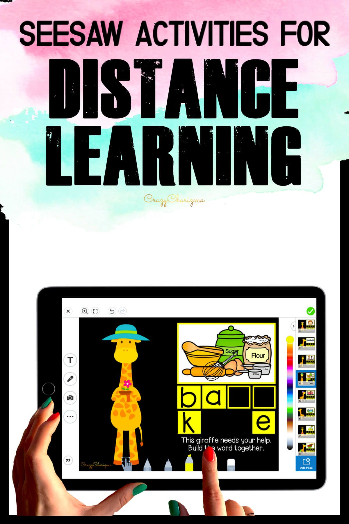 Need fun activities to use in Seesaw? Looking for engaging practice for distance learning? Try paperless CVCe words practice with giraffes. Perfect for prek, kindergarten, first and second grade!