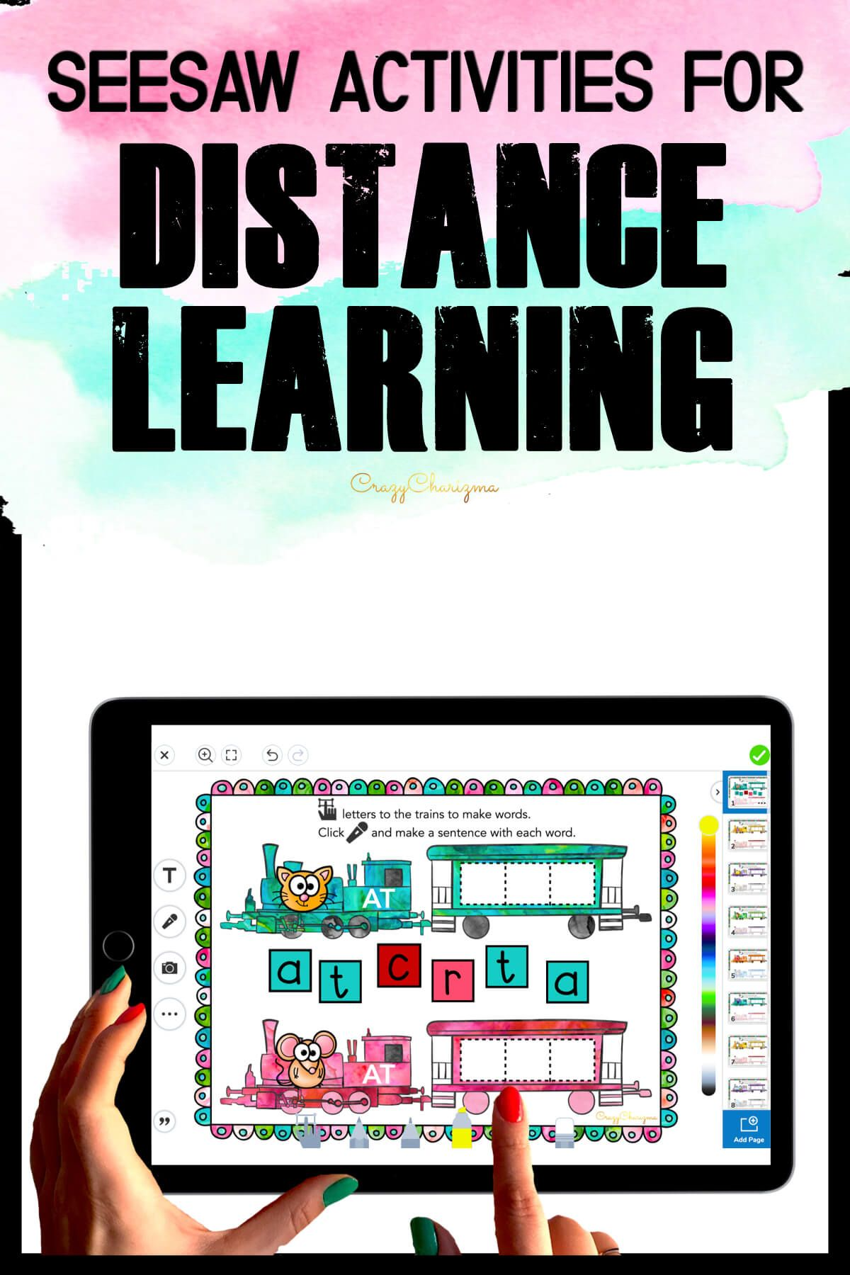Need fun activities to use in Seesaw? Looking for engaging practice for distance learning? Try paperless CVC words practice with trains. Perfect for prek, kindergarten, first and second grade!