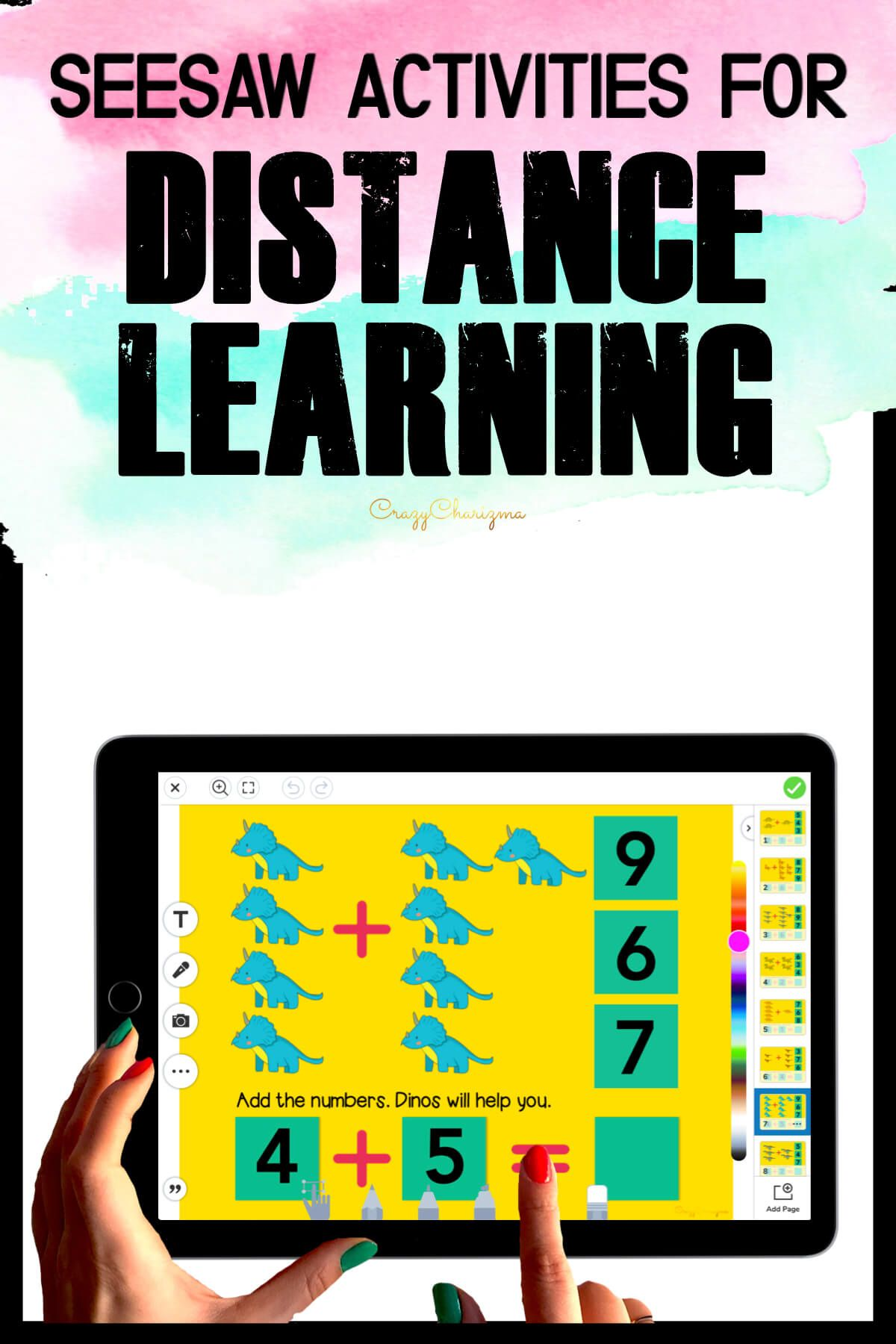 Need fun activities to use in Seesaw? Looking for an engaging Addition to 10 practice for distance learning? Have fun with this math center. Kids will add numbers and drag moveable pieces with the correct answer. Pictures of dinos will help!