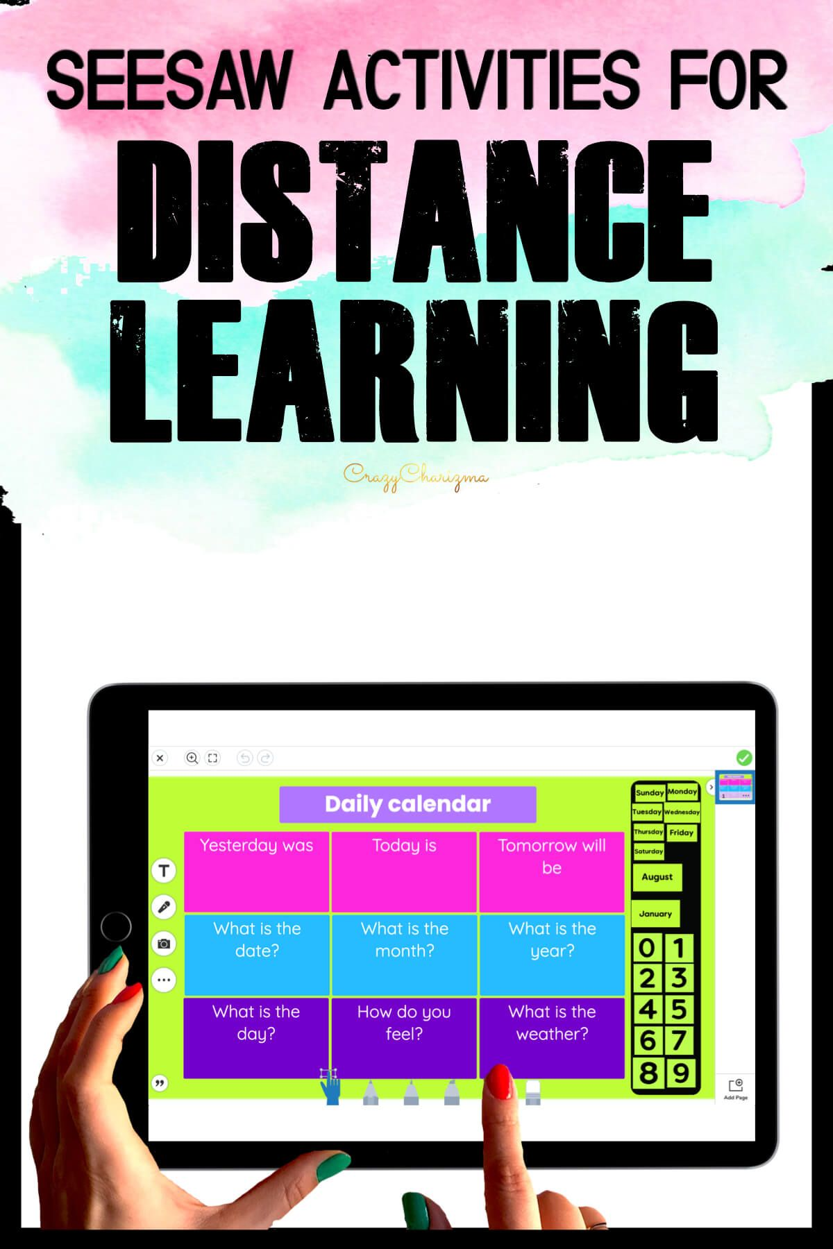 Need a daily calendar for students to fill out in Seesaw? Perfect for distance learning! Kids will move the moveable pieces or/and add text with emojis.