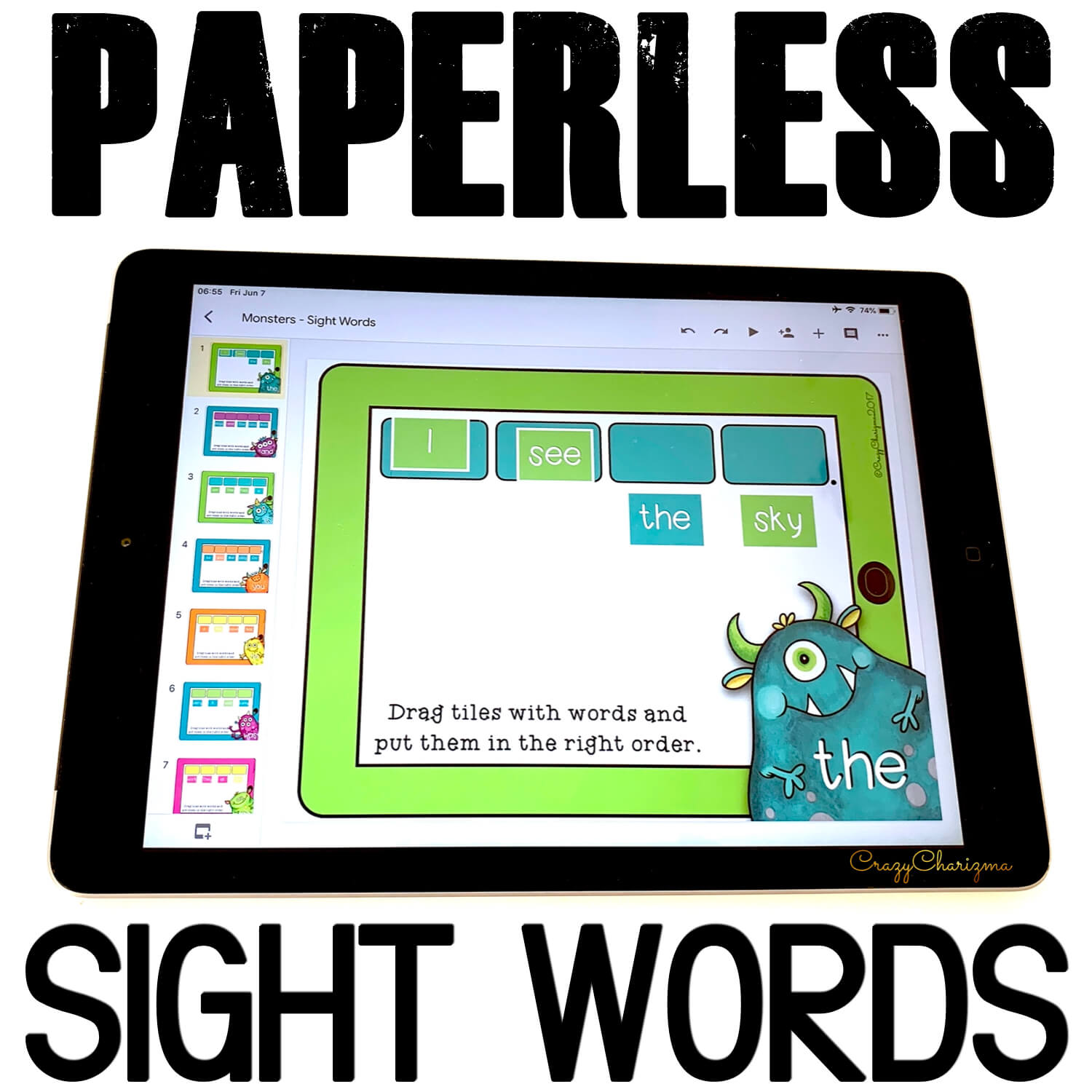 Get these paperless resources and practice sight words. Put words in the right order to build a sentence. Improve sentence fluency with Google Classroom activities!