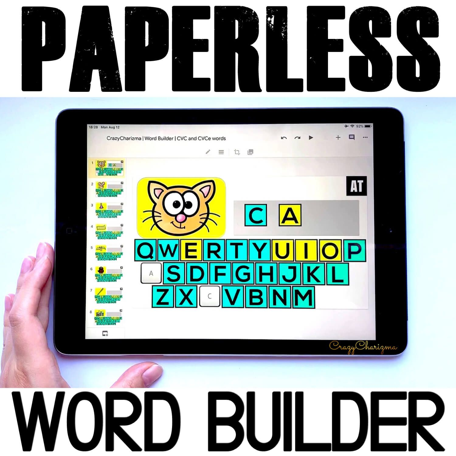 Need an engaging way to practice CVC and CVCe words? Use the PAPERLESS word builder. Perfect for Google Slides and Google Classroom. Kids will ask for these games over and over!