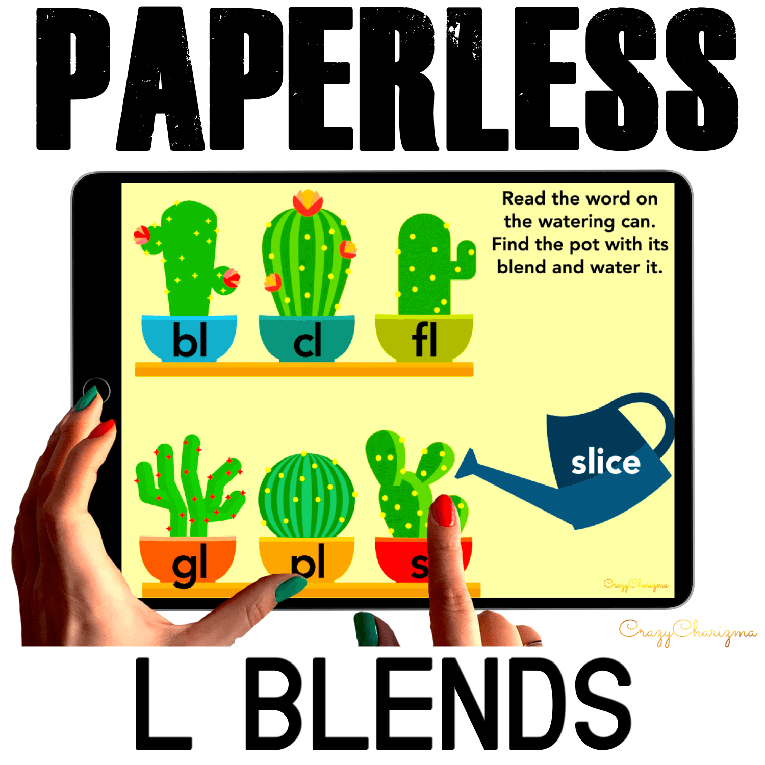 "Need to practice beginning L BLENDS in a fun way? Check out these interactive slides for Google Classroom. Kids will read words on the watering can and ""water"" the correct pot (depending on the blend)."