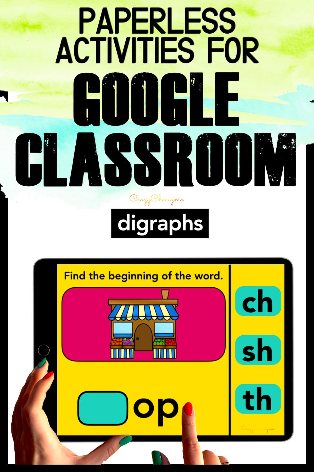 Need to practice beginning and ending digraphs CH, SH, TH in a fun way? Check out these interactive slides for Google Classroom. Kids will drag the beginning or ending of the word (images will help).