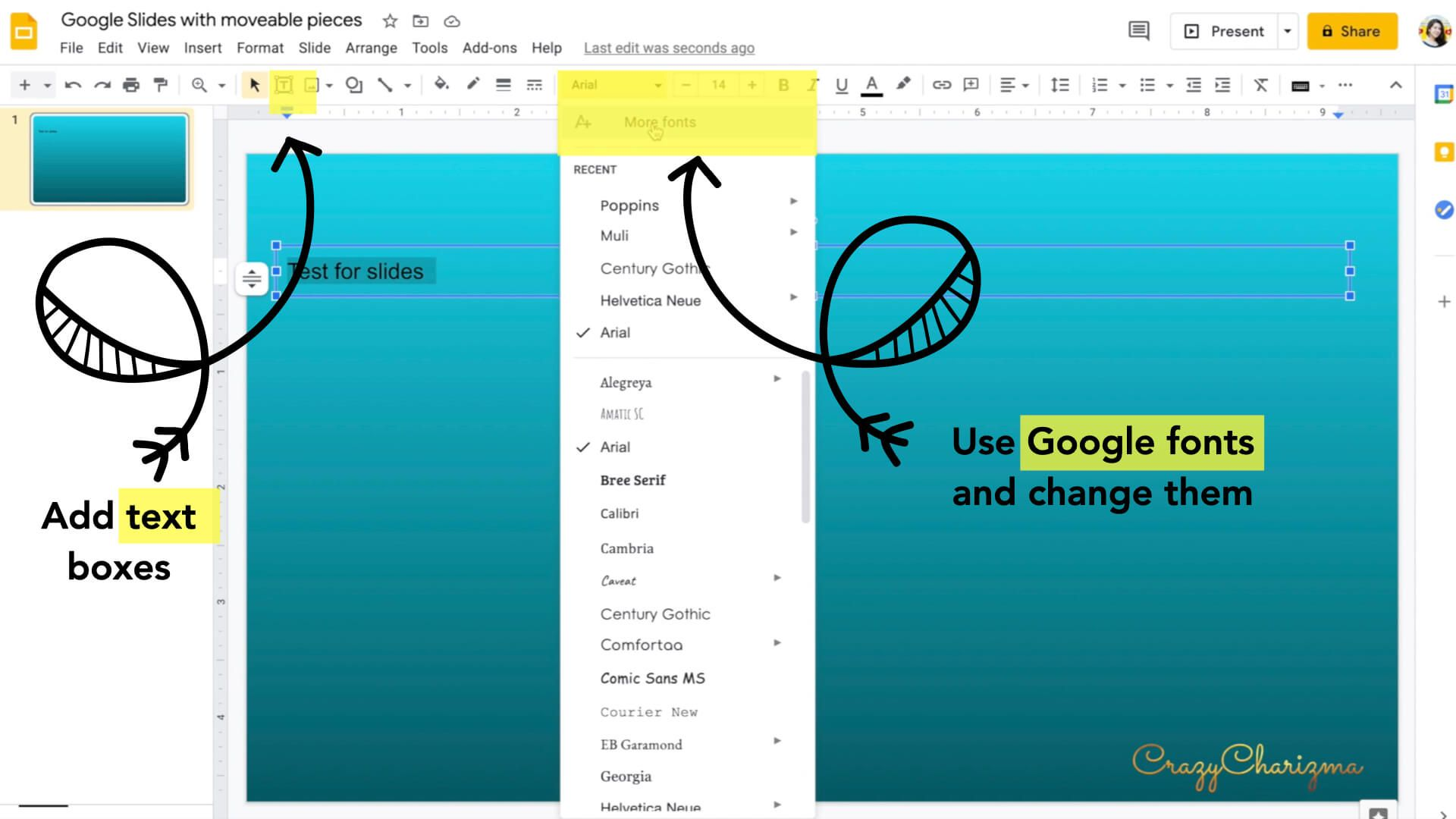 Add text boxes and use Google fonts