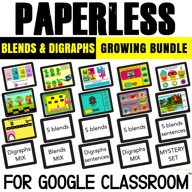 Blends and digraphs bundle for Google Classroom