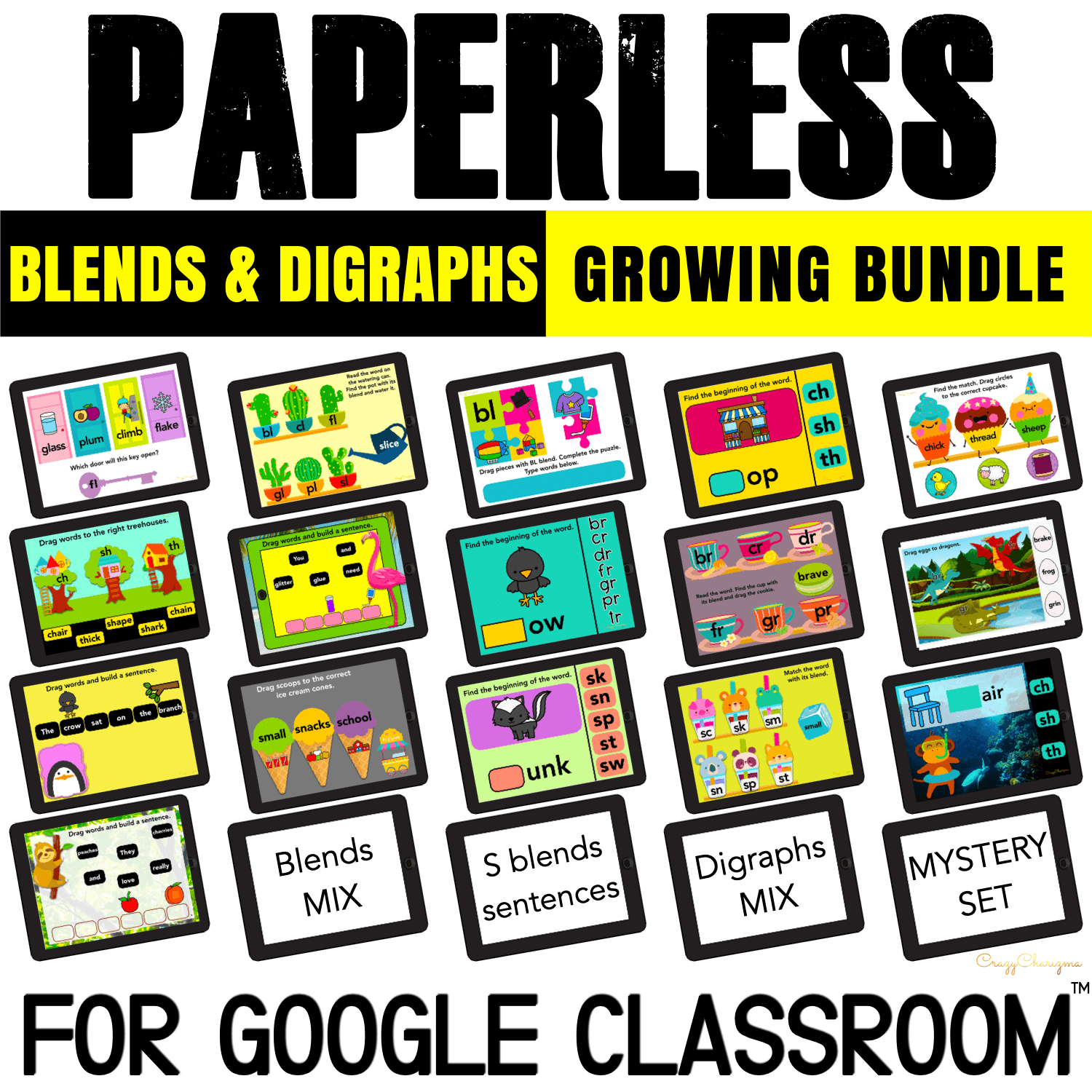 Need to engage kids with interactive blends and digraphs activities? Check out this GROWING BUNDLE that when completed will have 20 sets! Created for Google Slides and Google Classroom, you can use it for distance learning or in the classroom.
