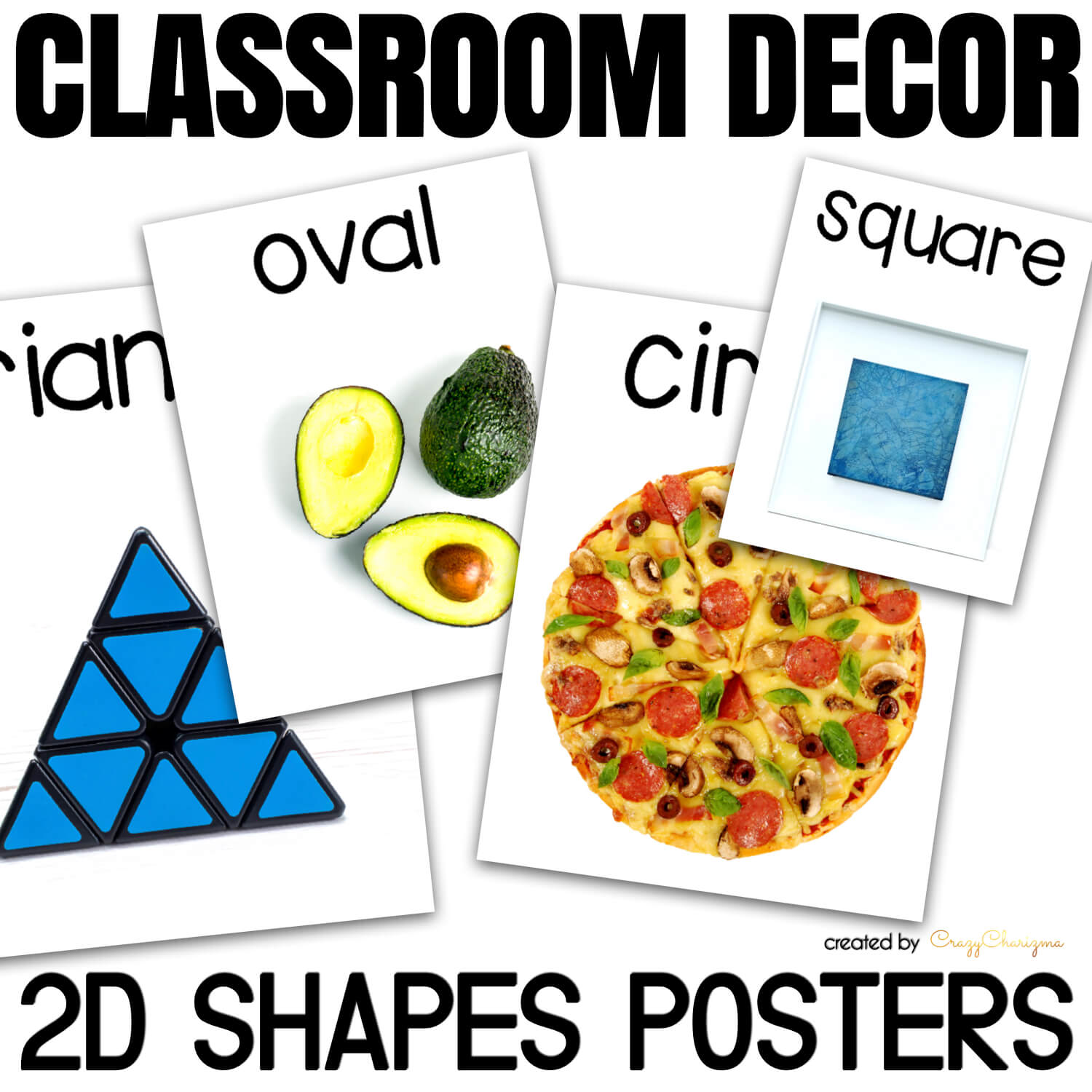 Need bright 2D shapes posters with real-life objects? You've found them! Modern look, vibrant colors, easy to understand objects with 2D shapes.